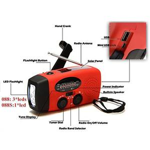 Charger Radio Solar Waterproof Emergency Hand-Crank Titleprotable Flashlight FM Generator