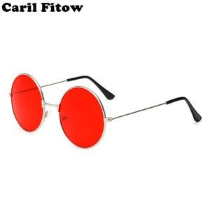 2020 Metal Round Sunglasses Men Women Personality Black Big Red Sun Glasses Mirror Shades Sunglass for Womens Mens UV400