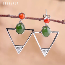 925 Sterling Silver Hetian Jasper Geometric Stud Earring Original Design Trendy Vintage  Earrings Fine Jewelry Women Party Gift