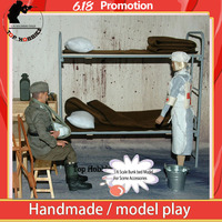 1PC Toy Model WWII German 1/6 Scale Metal & Wooden Bunk Beds Model Set Quilt Pillows Set For 12 Action Figure Scene Accessories