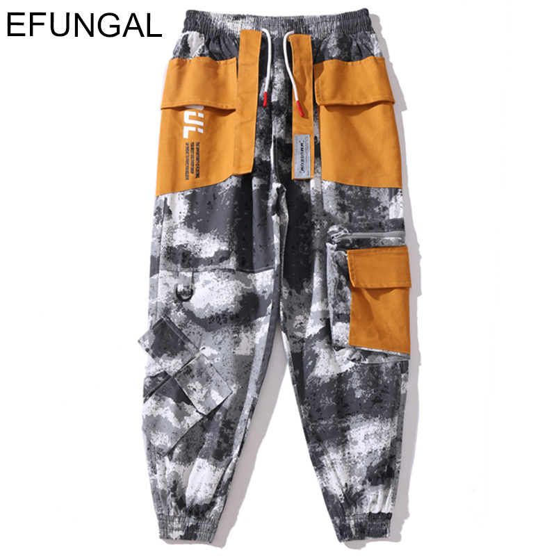 EFUNGAL Camouflage Letter Print Harem Joggers Men High Street Cargo Pants 2019 Fashion Streetwear Casual Pants Military Clothing