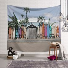 Nordic Style Wall Hanging Tapestry Beach Coconut Tree Printed Wall Cloth Tapestries Beach Throw Towel Home Decor Shawl Blanket beach style dusk coconut tree pattern square shape pillowcase