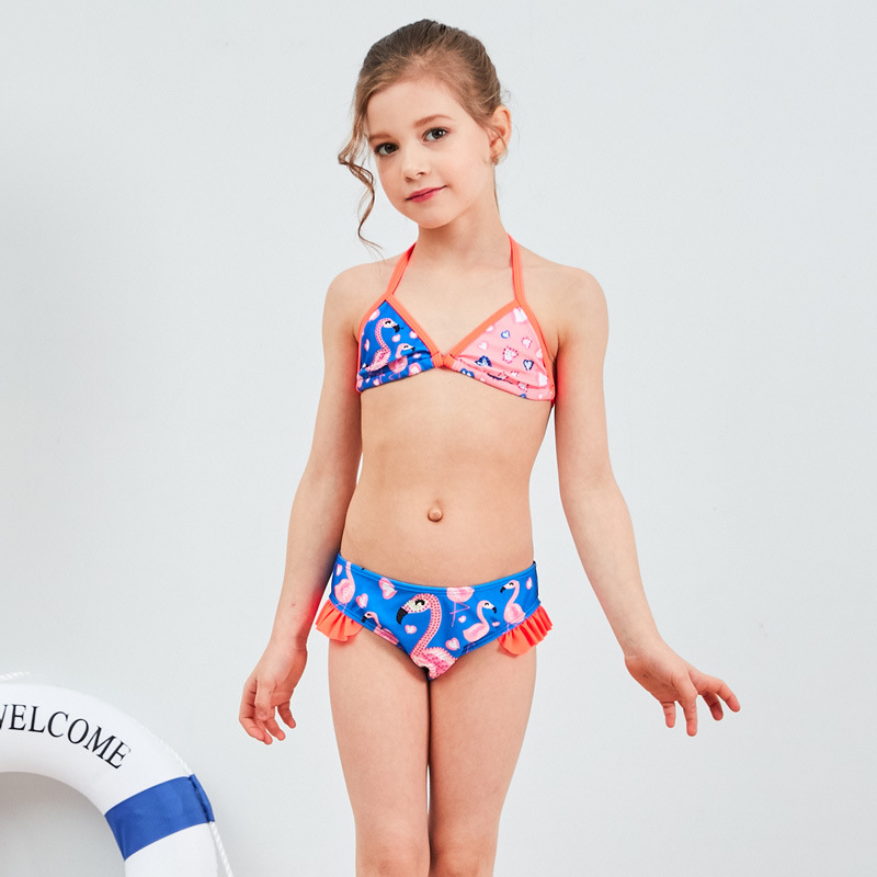 19 New Style Hot Sales Split Type Bikini Bathing Suit Flamingo Flounced Sweet Backless Cute Girls KID'S Swimwear