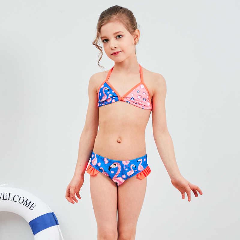 19 новый стиль, хит продаж, Раздельный тип, бикини, купальный костюм, фламинго, с оборками, Милая Открытая спина, милые детские купальники для девочек