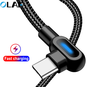 OLAF Micro USB Type C 1M 2M Fast Charging 90 Degree Cable For Samsung S8 S9 S10 Xiaomi Huawei Microusb USB-C Charger Cord Kabel