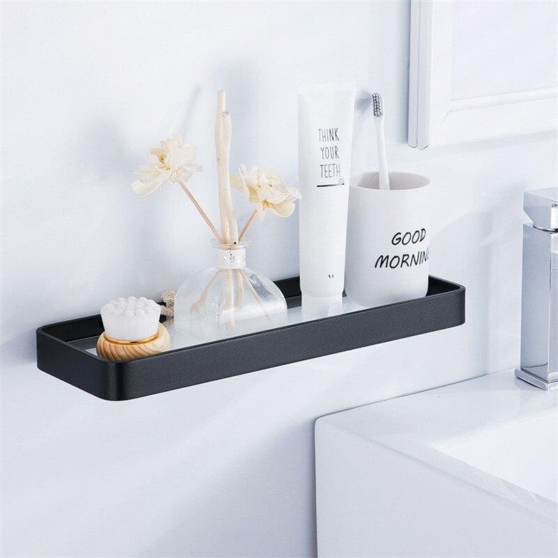 Shower Shelf Shampoo Holder Space Aluminum Bathroom Rack Glass Shelf Wall Hanging Storage Rack Organizer Single Layer Punch-free