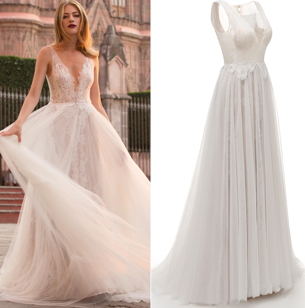 Deep V Neck Champange Lace Tulle Boho Bohemian Wedding Dress Bridal Gown Real Photo Factory Price