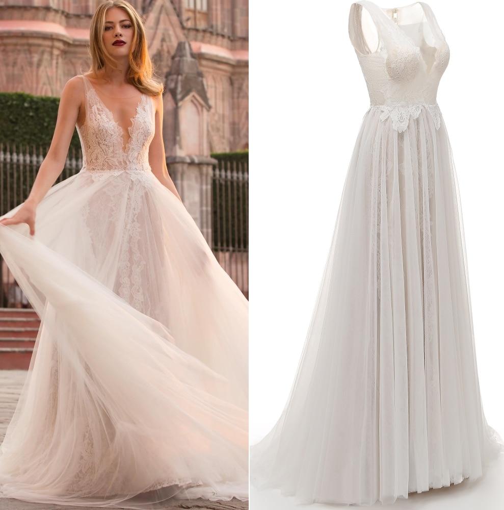 Deep V Neck Champange Lace Tulle Boho Bohemian Wedding Dress Bridal Gown Real Photo Factory Price