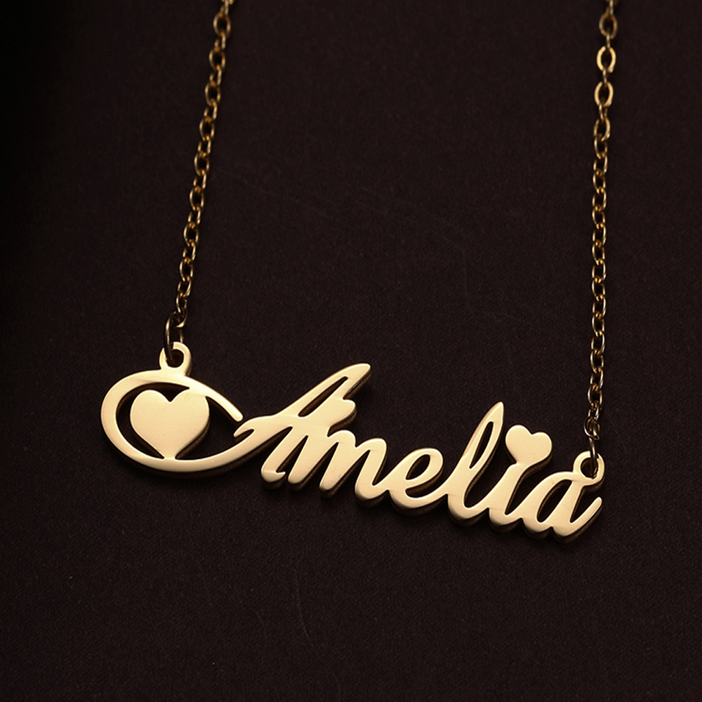Lemegeton Personalized Custom Nameplate Necklace Letter Heart Crown Choker Name Necklace For Women Girls Gift