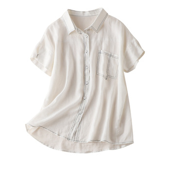 Flax Blouses Turn-down Collar Pockets Vintage Thin Women Summer Blouses Korean Ladies Women's Tops and Blouses White фото