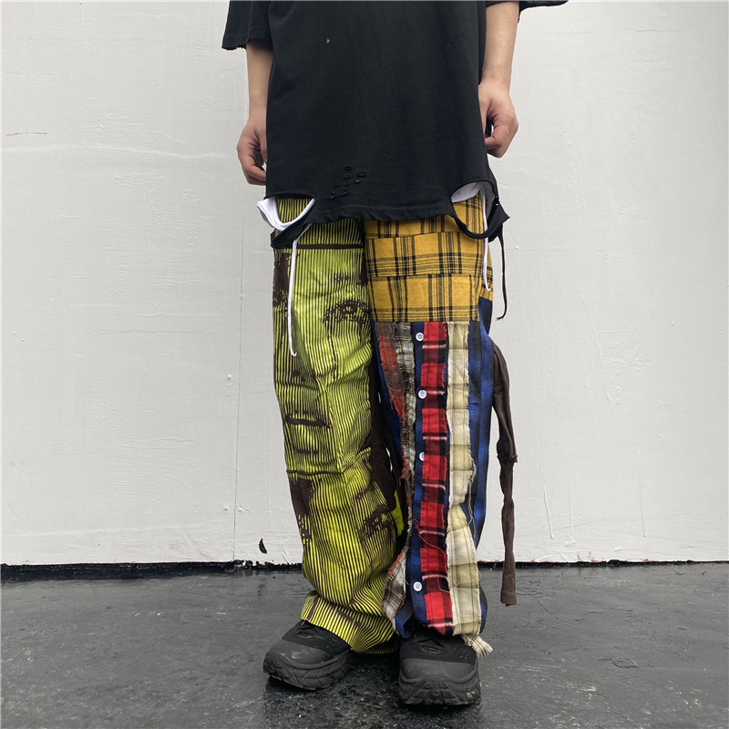 UNCLEDONJM Lattice Patchwork Hip Hop Harajuku Casual Pants High Street Design Ins Fashion Men Trousers T2-A002