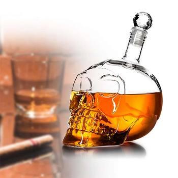 1000350 500 ML kryształowa butelka w kształcie czaszki wódka czaszka kieliszek butelka z korkiem czaszka głowa szklana karafka dla Whisky wino spirytusowe tanie i dobre opinie CN (pochodzenie) Szkło Other Na stanie Ekologiczne AE-PF11194 Creative Wine Bottle