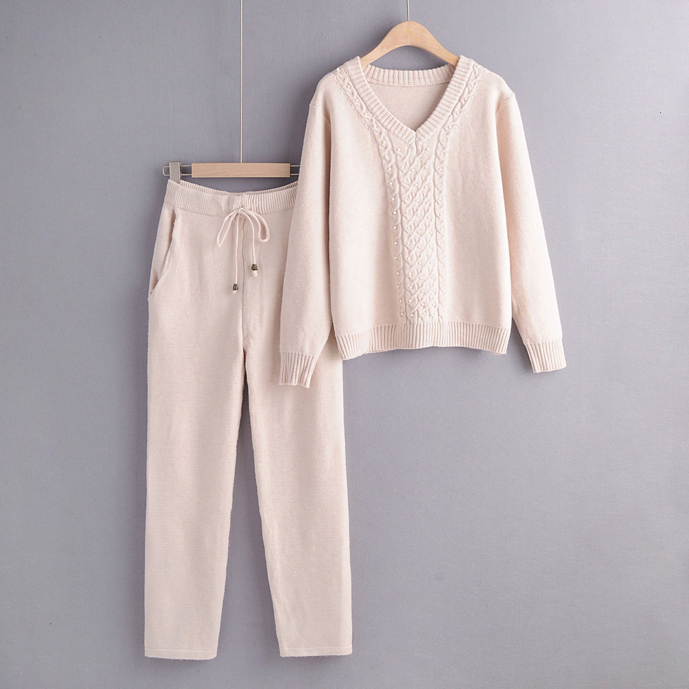 2019 Autumn Winter Knitted Tracksuit Women Knitted Two Piece Set Pearls Sweater High Waist Harem Pants Sports Set