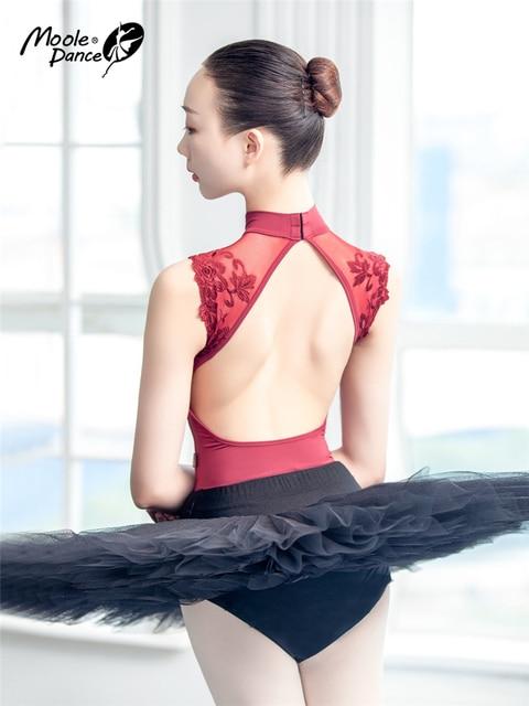Sexy Dance Leotards One piece Dance Practice Clothes Women Lace Gymnastics Dancing Costume Adult High Collar Ballet Leotard