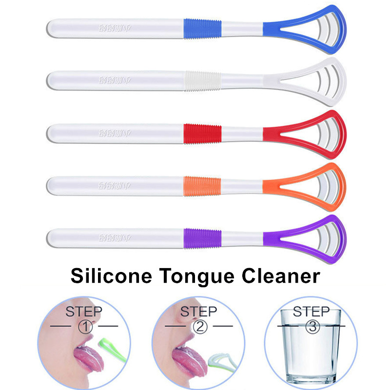 1PC New Silicone Tongue Brush Soft Tongue Cleaner Scraper Cleaning Tongue Scraper For Oral Care Oral Hygiene Keep Fresh Breath