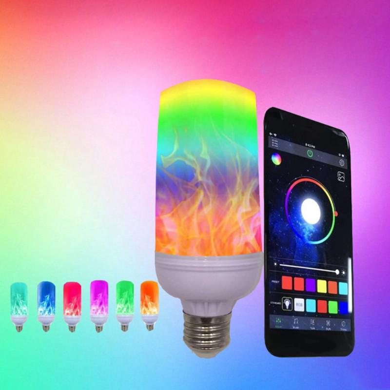 App inteligente led efeito de chama lâmpada 4 modos com efeito de cabeça para baixo 2 pacote e26 bases decoração festa - 5