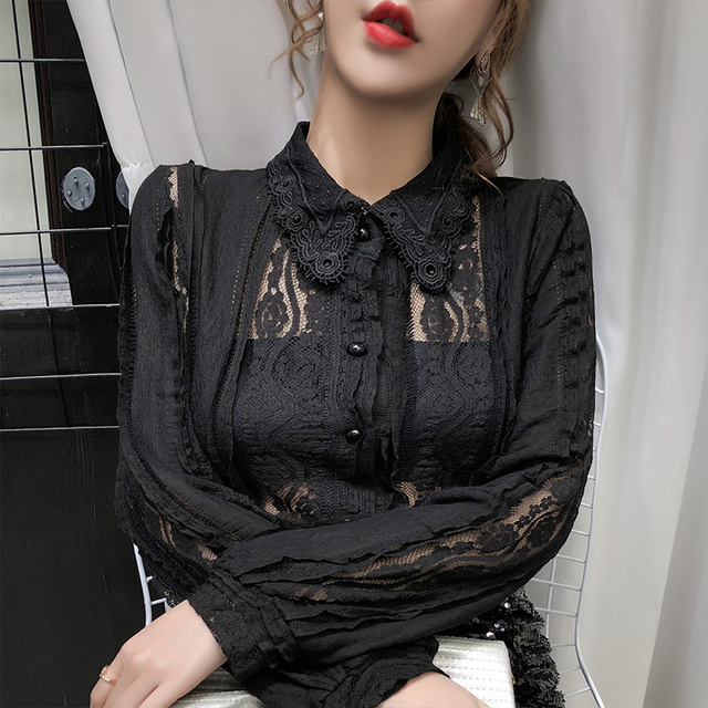 Sexy Women Tops Blouse 2021 Autumn Hollow Lace Shirt Cotton Long Sleeve Women Blouse Beading Thin Office Lady Clothing 10457 2