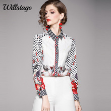 Willstage Women Blouses Vintage dots Print Shirts Single-bre