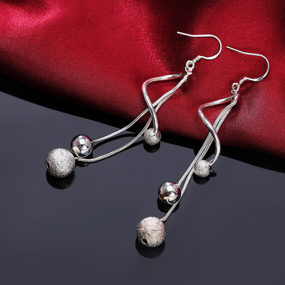 AE322 Promotional New Silver Color Earrings High Quality Fashion Elegant Women Classic Jewelry Free Shipping , JSH-E276