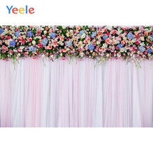 Yeele Wedding Party Flowers Decor Pink Curtain Wall Photography Backdrops Personalized Photographic Backgrounds For Photo Studio