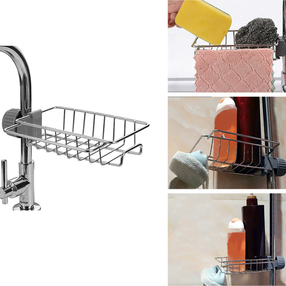 Stainless Steel Faucet Rack Kitchen Storage Shelf Sponge Dish Cloth Finishing Rack Drain Rack Pool Rag Storage Drain Dry Rack