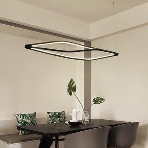 Image 4 - Modern LED kolye ışıkları yemek odası bar mağaza asılı kolye lamba oturma odası ofis ev deco 90 260V mat siyah/beyaz