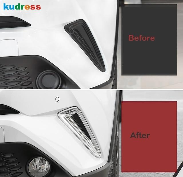 Pour Toyota CHR C-HR 2016 2017 2018 extérieur ABS Chrome pare-chocs avant côté Grille couverture garniture avant protection de feu de brouillard accessoires 5