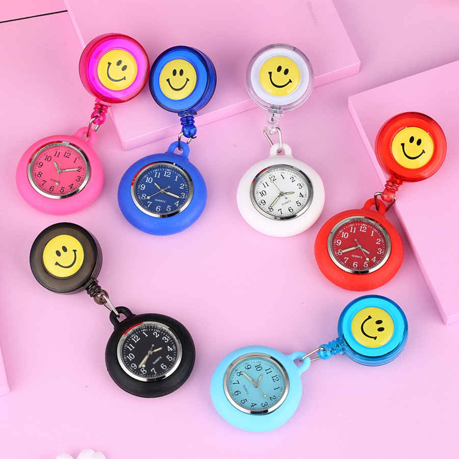 Colorful Smile Faces Quartz Pocket Watch Nursery Clocks Pendant Hanging Watch Unisex Doctor Medical FOB Pocket Hang Clip Watch