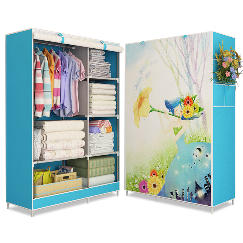 3D Painting Wardrobe Non-woven Fabric Steel Frame Reinforced Bedroom Clothes Storage Furniture Detachable Cloth Organizer Closet