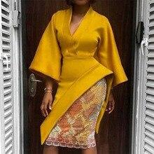 Yellow Office Ladies Vintage Sexy Plus Size African Women Midi Dresses Elegant Slim Plain Asymmetric Dinner Party Female Dress