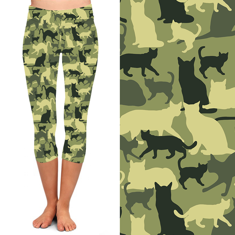 Women Capri Camo Cat Leggings Super Soft Peachskin Leggings  Digital Printed Legging High Waist Cropped Buttery Stretchy Pants