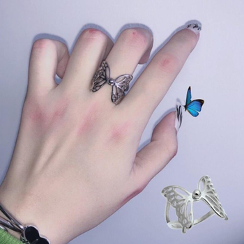 Harajuku Gothic Vintage  Hollow Silver Colour Butterfly Rings for Women Men girl Dating Punk Jewellery Sale Wholesale 1