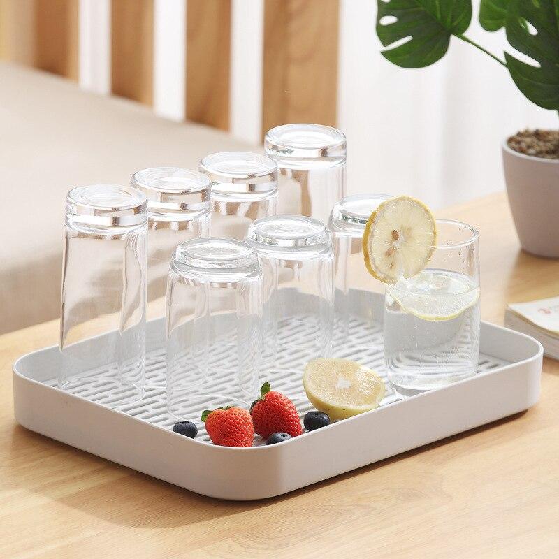 Двухслойная Стоковая стойка, пластиковая сушилка на раковину для посуды, поднос для хранения фруктов, Сервировочные лотки, декор для посуды, кухонный Органайзер-0