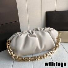 Bolsa de embreagem de luxo da marca das mulheres saco nuvem corrente grossa nuvem saco retro underarm saco designer feminino bolinho saco couro real