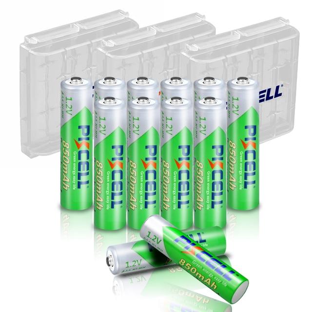 12PC X PKCELL AAA batterie 850mAh 1,2 v AAA Akku Low selbstentladung Ni Mh Batterien mit 3PC AAA Batterie box fall