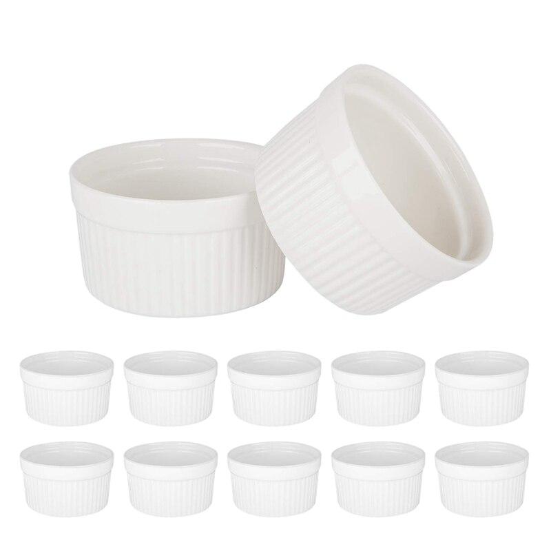 Set of 12 PCS 6Oz Baking Ramekins Round Porcelain Oven Safe Ramekin Dessert Souffle Baking Dish
