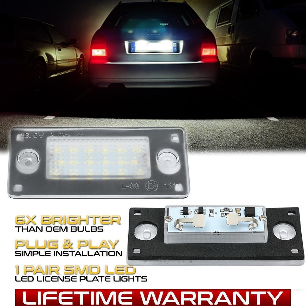 Комплект из 2 предметов Бесплатная ошибка светодиодный заднего номерного знака светильник для Audi A3 8L 1996-2003 Audi A4 B5 8D5 Avant 1994-2001 Тюнинг автомоби...