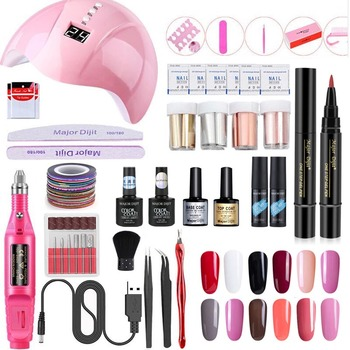 Nail Set for Manicure Kit UV Led Lamp With Electric Drill Machine Nail Gel Polish Manicure Handle Nail Art set