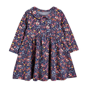 1-7 Years Floral Cotton Dress for Kids Baby Girl  Long-sleeved Doll Collar Clothes for Toddler Girl  for Autumn and Spring  2020