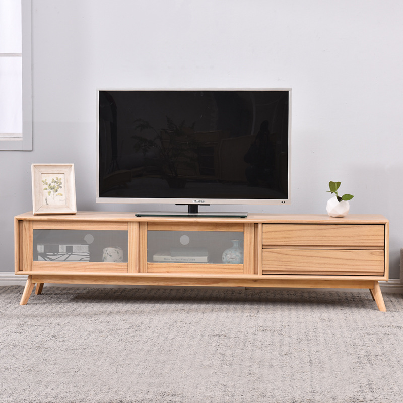 Solid Wood New Chinese Style Television Table Minimalist Modern Outfit Teapoy Table Television Cabinet TV Background Cabinet Com