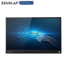 ZEUSLAP Touch Screen Portable Monitor 1920x1080 FHD IPS 15.6-inch Display Monitor Rechargeable Battery with Leather Case