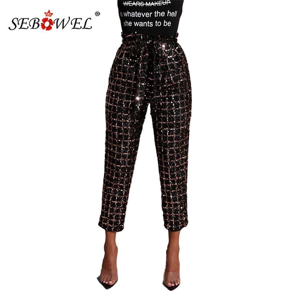 SEBOWEL Casual Woman's Shiny Sequin Grid Pattern Pants Female Ladies Sparkling Slim Fit High Waist Plaid Tight Pants Autumn S-XL