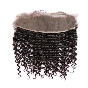Кудрявые пряди с фронтальной застежкой бразильские человеческие волосы плетение пучок с 13x4 фронтальные швейцарские кружева глубокая волн...