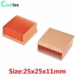 2 sztuk Radiator z czystej miedzi 25x25x11mm mini Radiator chłodnicy dla Raspberry pi układu MOS IC 3D drukarka elektroniczna chłodzenia chłodnicy