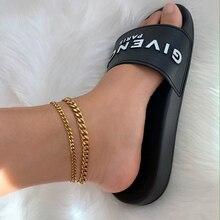 Классический женский браслет на ногу из кубинской цепи, летняя пляжная цепочка из нержавеющей стали золотого цвета, ножные браслеты для жен...