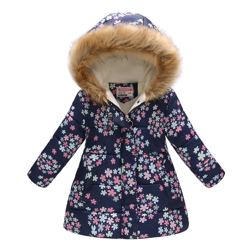 Winter Girls Warm Down Jackets Kids Fashion Printed Thick Outerwear Children Clothing Autumn Baby Girls Cute Jacket Hooded Coats 4