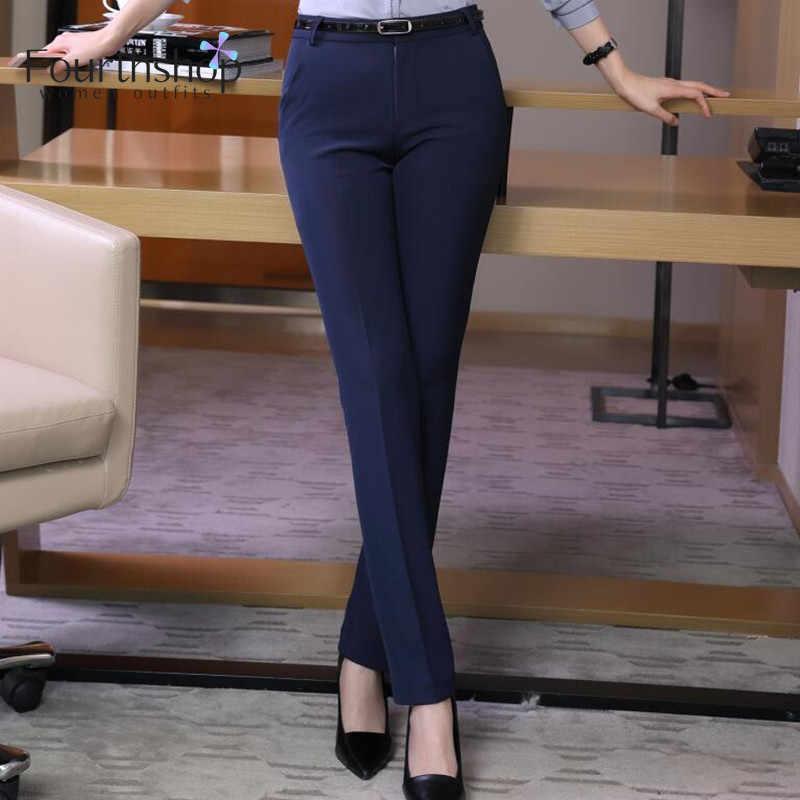 Mode formelle pantalon pour femmes affaires travail usure bureau dame pantalons longs automne hiver 2019 grande taille 4XL XXXL pantalon femme