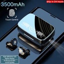 חדש 3500 mAh אלחוטי אוזניות Bluetooth אוזניות LED תצוגת ספורט עמיד למים אוזניות סטריאו אוזניות עם HD מיקרופונים