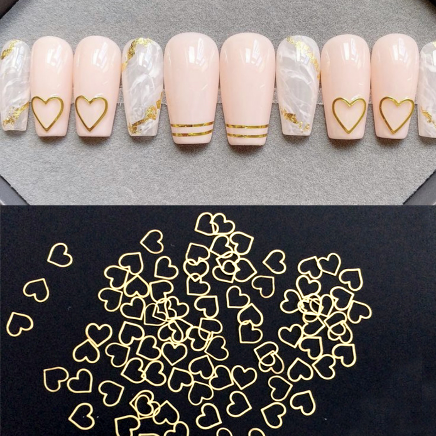 Золотистые/серебристые металлические наклейки для ногтей в форме сердца, 100 шт., милые заклепки, 3D украшения для ногтей, стразы, аксессуары д...