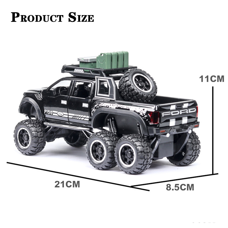 1 32 Diecast Ford F150 Raptor Pickup Alloy Truck Car Model Pull Back Vehicle Model Collection
